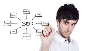 SEO chart and man