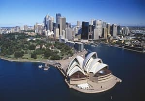 areal view of the Sydney opera house